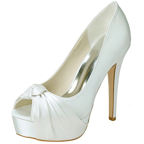 LOSLANDIFEN Women's Peep Toe Pleated Vamp Satin High Heel Platform Pumps Wedding Shoes(3128-23ASilk37,mibai) (Ivory Leather Peep Toe Pumps)