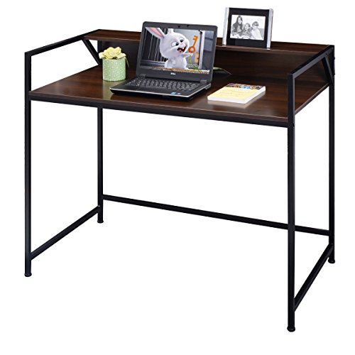 GHP 43.1''x23.6''x35.5'' MDF Density Board & Metal Office Computer Desk Workstation by Globe House Products