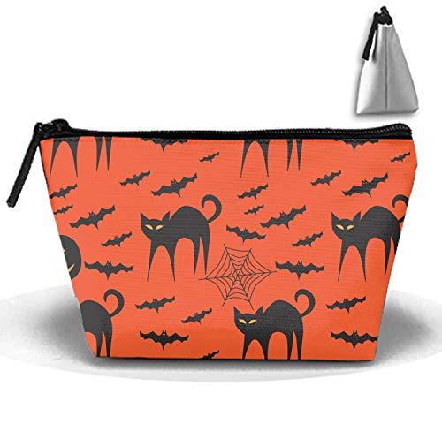 Cosmetic Bag Zipper Storage Bag Portable Ladies Travel Halloween Fierce Kitty Makeup Bag]()