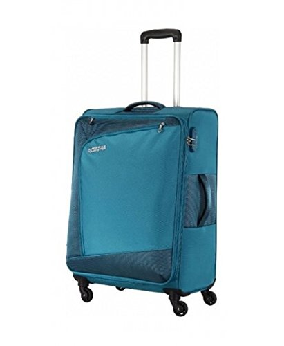 a0ecee356d6a86 American Tourister Fabric Teal Blue Suitcase  Amazon.in  Bags ...