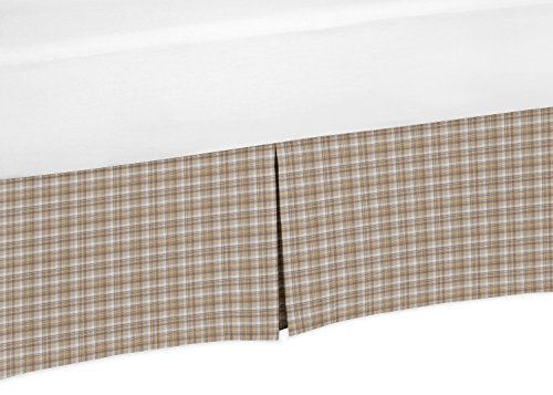 Jojo Designs Brown Bedskirt (Sweet Jojo Designs Brown and Ivory Plaid Crib Bed Skirt Dust Ruffle for Boys All Star Collection Baby Bedding Sets)