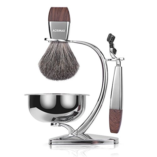 ACRIMAX Premium Badger Hair Shaving Brush Set with Luxury Brush Stand and Brush holder for Soap Bowl and Manual MACH3 Razor Gift Kits for Men (MACH3)