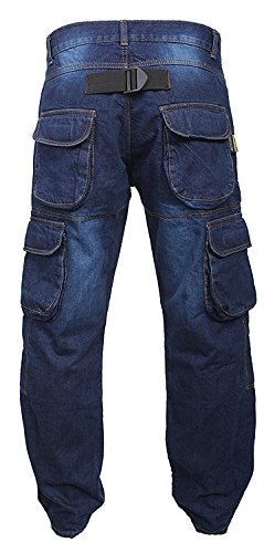 Newfacelook Denim Cargo Motorbike Sports Jeans Aramid Protection Lining I-101 Blue W34 L34 by Newfacelook (Image #3)
