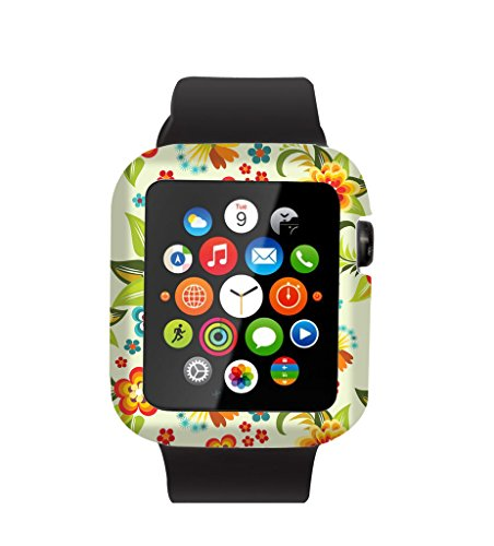 Case Replacement for Iwatch 42mm & Cisland Flexible Protective Protector Cover Compatible for Apple Watch 42mm Series 1/2/3 Sport & Edition Beautiful Luxury Colorful Art Rose Flower Floral Print