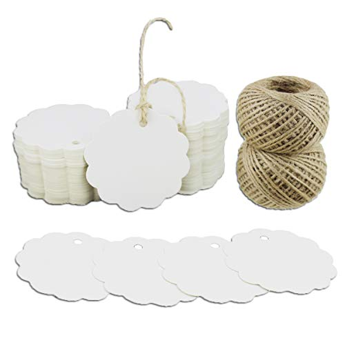 Kraft Gift Tags 200 PCS Scalloped Round Paper Tags Blank Label with Jute Twine for Handmade Party Favors as Thank You Card Vintage Brown Price Tags (White)