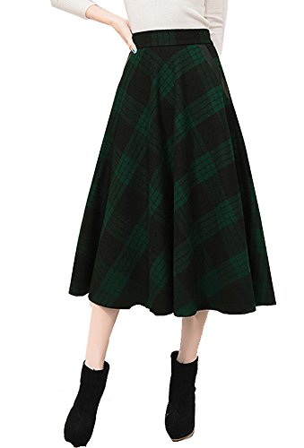 Tribear Women's Vintage High Waist Wool A-Line Pleated Midi Skirts (10, 8759Green) (Soft Skirt Wool)