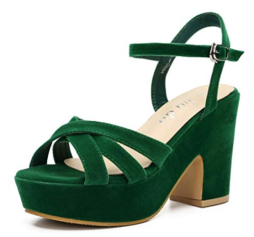 (Women's Wedge Platform Sandals Peep Round Toe Chunky Heeled Pumps Shoes Green Velvet Size US 9.5 EU 42)
