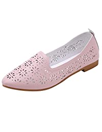 Jesper Women Soft Cozy Fashion Warking Shoes Casual Shallow Pointed Toe Hollow Out Breathable Loafers Shoes