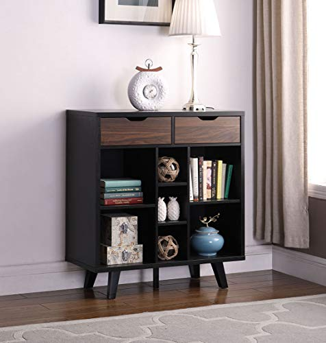 None Console Table Buffet Sideboard Wine Cabinet with Seven Open Shelves, Two Drawers - Black and Walnut Finish