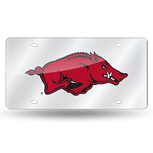 Arkansas Razorbacks Laser Inlaid Metal License Plate Tag, Silver ()