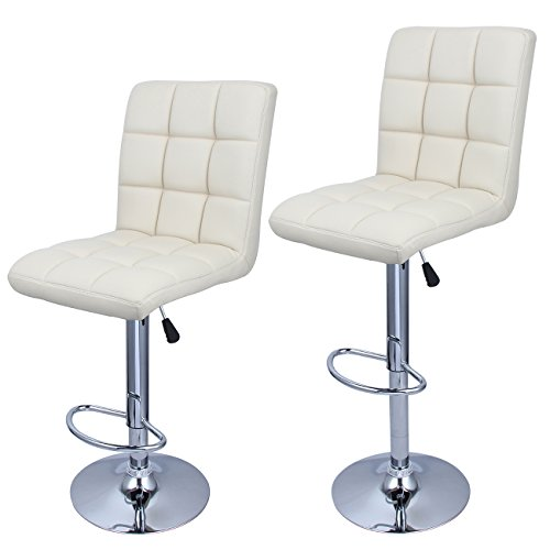 Belleze Modern Adjustable Hydraulic Bar Stools Faux Leather Backrest Cushion Seat with Footrest, Cream Soda