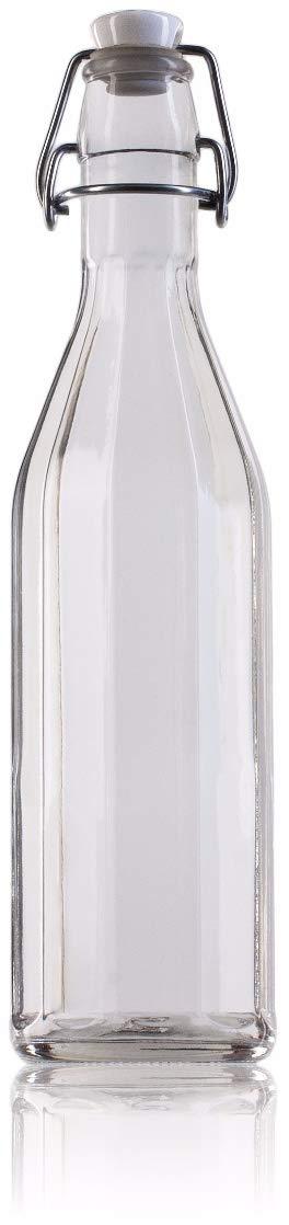 Botella Agua Cristal Vidrio 0,5 Litros Faceteada Tapón Cierre Mecánico Hermético Transparente: Amazon.es: Hogar