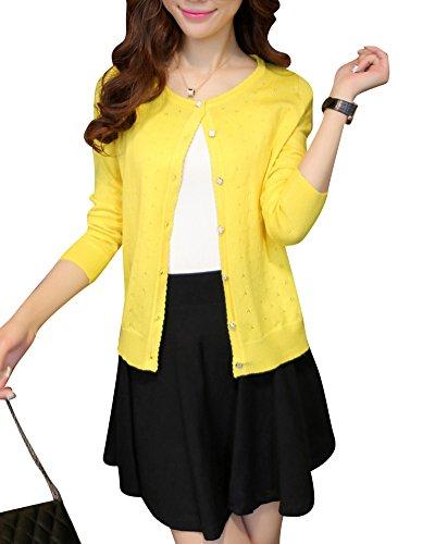chale manteau creuse section petit Cardigan Slim Femme de conception Courte Jaune anCwqaxt4