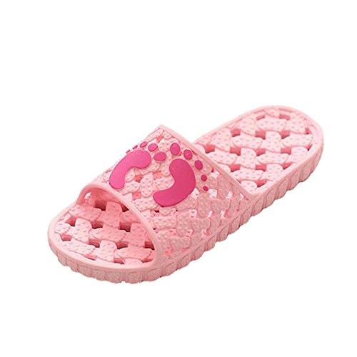 Angelliu Unisex Hollow New Style Non-Slip Bathroom Shower Household Beach Slippers Pink atN0LYMHw