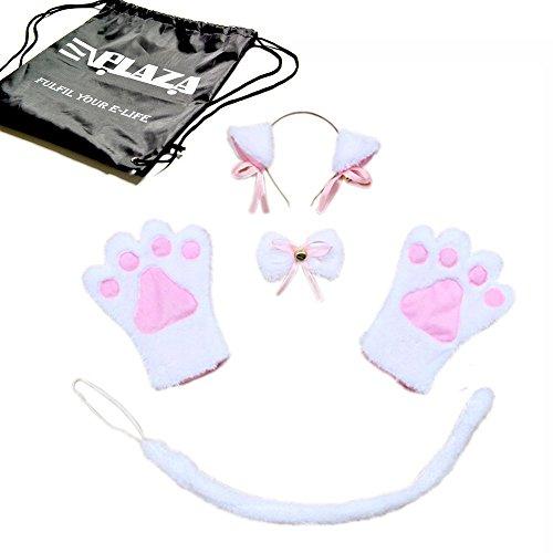 EPLAZA 5PCS Sexy Cute Cat Maid Cosplay Neko Anime Costume Party Halloween (white) -