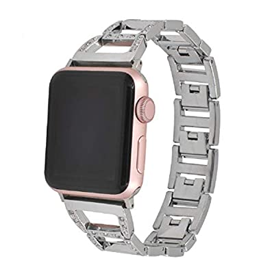 Juzzhou Watch Bands For Apple Watch iWatch 38mm/42mm Series 1/2/3 Stainless Steel Replacement With Metal Adapter