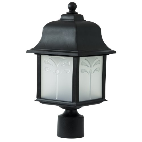 Sunlite 48220-SU DOD/ORP/BK/FR/GU24 Decorative Outdoor Energy Saving Orchid Post Polycarbonate Fixture, Black Finish, Frosted Lens