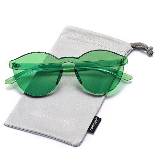 One Piece Design Rimless Orange Glasses for Women Round Fashion Colorful Sunglasses (Green) ()