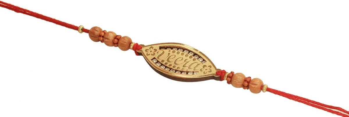 Best Handmade Red Orange Thread Material Rakhi Rakhi For Bhabhi Bhaiya Bhai Traditional Rakhi With Sikh Pendant 4 Round Golden Color Beads Multicolored Wooden Beads And Silver Blue Faux Diamond Rakshabandhan Bracelet Raksha Bandhan From India