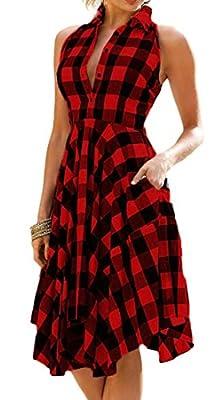 X-Future Womens Sleeveless Plaids Irregular Hem Casual Shirt Party Dress