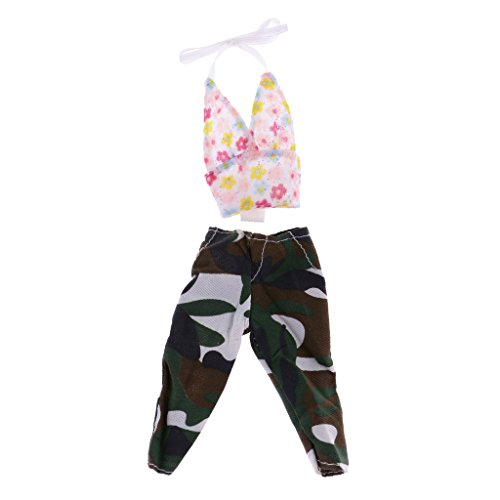 Jili Online Sexy Floral Printed Tops & Camouflage Pants Fashion Casual Outfit for Monster High (Sexy Outfits Online)