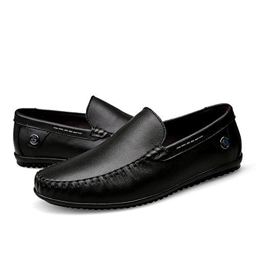 Color Mocassino Mocassino Dimensione minimalista Xiazhi Nero di vacchetta Mocassino stile da uomo on in guida EU shoes slip tacco 43 con piatto pelle XXUqRT