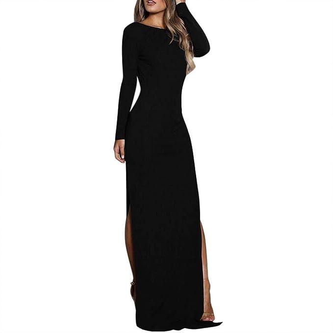 MEIbax Vestiti Donna Eleganti Sexy Backless Manica Lunga Spacchi Laterali  Abiti Abito da Cocktail Partito Vestito da Festa Casual  Amazon.it   Abbigliamento 4178484bebc