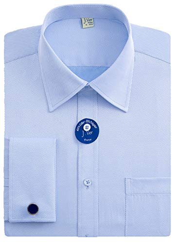 - J.VER Men's French Cuff Dress Shirts Regular Fit Long Sleeve Spead Collar Metal Cufflink - Color:Blue, Size: 17.5