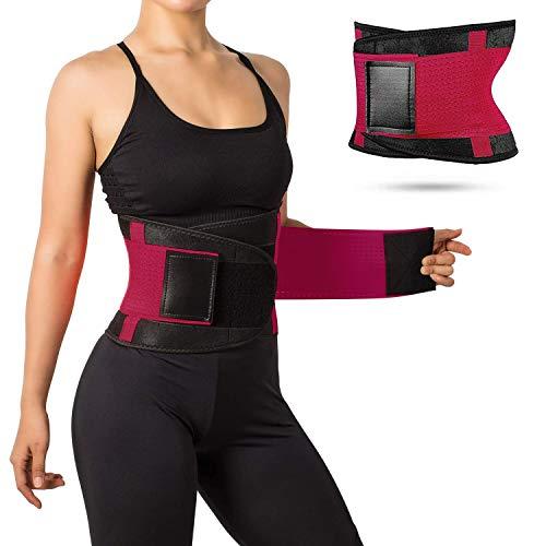 JRing Waist Trainer Belt Back Brace Cincher Trimmer Sports Slimming Body Shaper Band with Dual Adjustable Belly for Fitness Workout, Unisex Pink