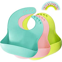 Baby Bibs, Lookka Wipeable Waterproof Silicone Baby Feeding Bibs with Wide Food Crumb Catcher Pocket Unisex for Toddlers (Set of 3 Colours)