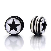 2pcs 10MM Magnetic Black Circle Star Stud Earrings for Men Boys, Non-Piercing Clip On Fake Ear Plugs