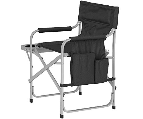 Faulkner Aluminum Director Chair with Folding Tray and Cup Holder, Black
