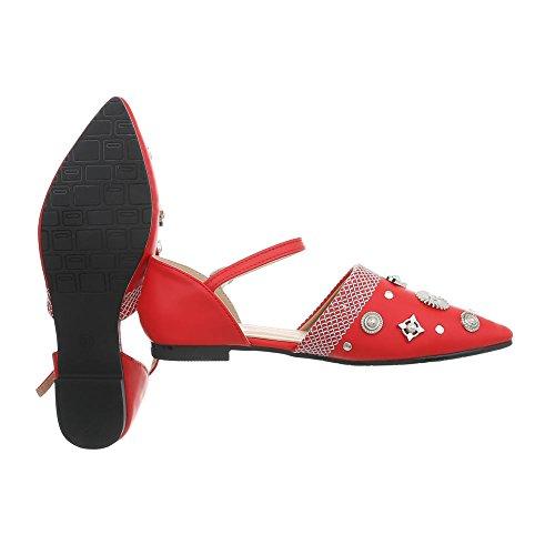 Ital-Design Women's Ballet Flats Block Heel Classic Ballet Flats at Red 127-38 ITAbUCOXdp
