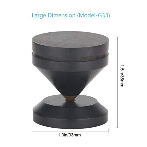 Large Speaker Spikes 1.3Inch Ebony Wood & Brass Top Isolation Stand Feet for Subwoofer Amplifier CD Player Studio Monitor Turnables via Gisveate (4 Packs) by Gisveate (Image #3)