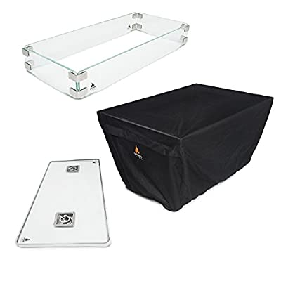 Outland Fire Table 3 Piece Rectangle Accessory Set of Tempered Glass Lid Insert, Tempered Glass Wind Guard Fence and UV & Water Resistant Durable Cover for Outland Series 401 Fire Tables