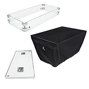 Outland Fire Table 3 Piece Accessory Set of Tempered Glass Lid Insert, Tempered Glass Wind Guard Fence and UV & Water Resistant Durable Cover for Outland Model 401 Fire Table