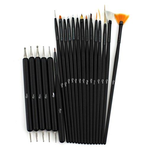 Glow 20 piece Nail Art Brushes and Nail Dotting Tools Set; B