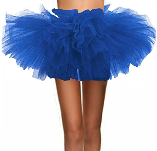 T-Crossworld Women's Classic 5 Layered Puffy Mini Tulle Tutu Bubble Ballet Skirt Royal Plus -