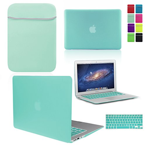 LOVE MY CASE / BUNDLE EGG BLUE / OCEAN GREEN Hard Shell Case with matching  KEYBOARD Skin and NEOPRENE Sleeve Cover for Apple MacBook Air 13 inch (13