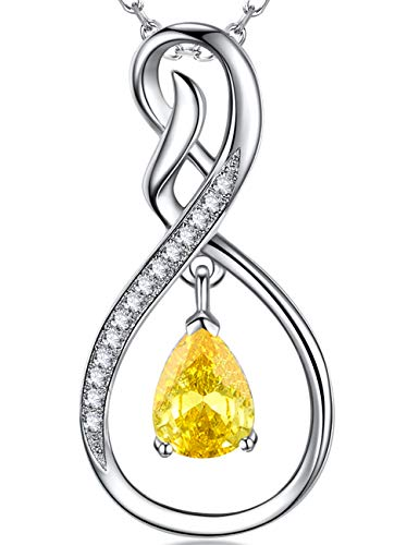 (Fine Jewelry Gift Love Infinity Dangle Sterling Silver Pendant Necklace Yellow Citrine Anniversary Birthday Gift for Her for Women )