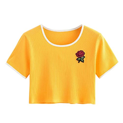 Donna T Corte Estive T Manica Rosa ASHOP Corta Top Donna a Manica da Shirt Collo Shirt T Giallo Shirt Casual o 7wW0FtqY
