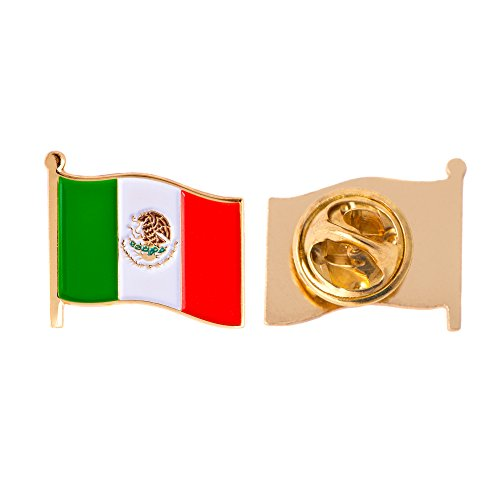 Mexico Country Flag Lapel Pin Enamel Made of Metal Souvenir Hat Men Women Patriotic Mexican (Waving Flag Lapel Pin)