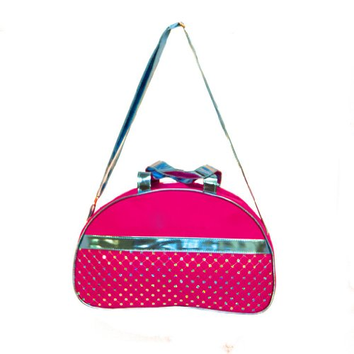 Girls Moon Duffle Bag Fuchsia & Metallic Blue Sequin & Shoulder Strap Duffle Bag