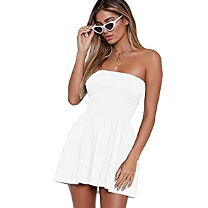 just quella Women's Summer Cover Up Strapless Dresses Solid Tube Top Beach Mini Dress