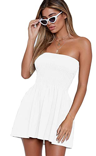 - just quella Women's Summer Cover Up Strapless Dresses Solid Tube Top Beach Mini Dress (S, White)