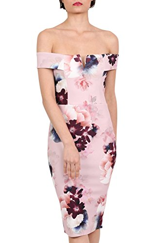 PILOT® Vestido ajustado midi Bardot floral Rosa empolvado