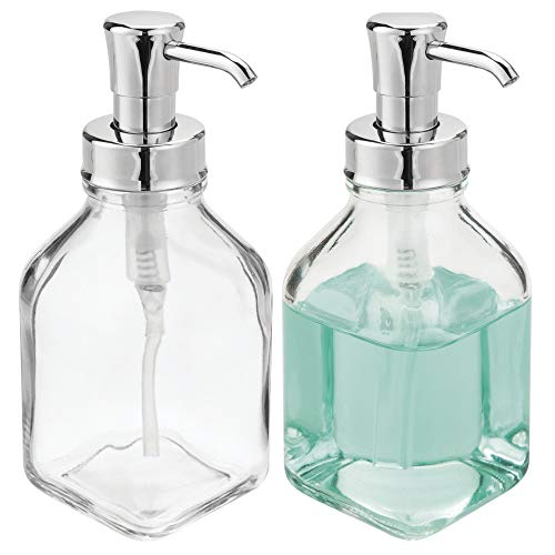 mDesign Square Glass Refillable Liquid Soap Dispenser Pump Bottle for Bathroom Vanity Countertop, Kitchen Sink - Holds Hand Soap, Dish Soap, Hand Sanitizer, Essential Oils - 2 Pack - Clear/Chrome