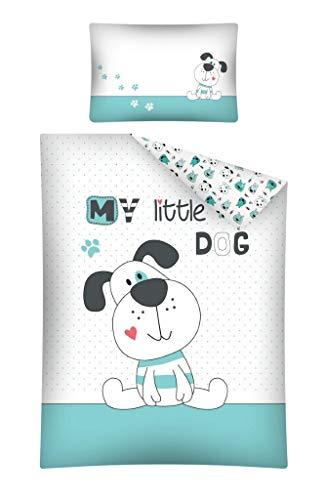 Kinderbettwäsche 2-tlg. 100% Baumwolle 40x60 + 100x135 cm mit Reißverschluss (Dog mint)