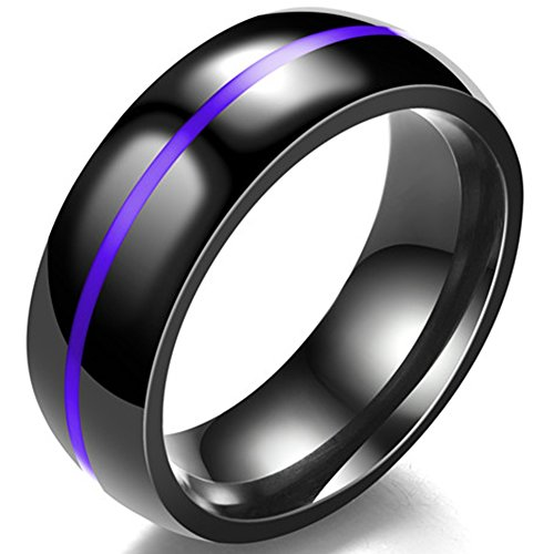 Jude Jewelers 8MM Classical Black Stainless Steel Ring Plain Wedding Band (Black Purple, (Purple Titanium Ring)