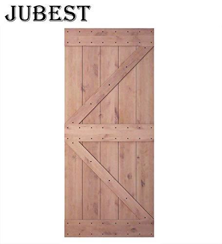 JUBEST 36 in 84 in Pine Knotty Sliding Barn Wood Door Slab Two-Side Arrow Shape Barn Door Slab (Unfinished)